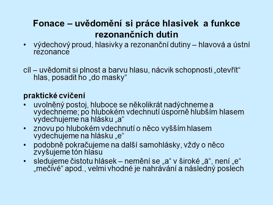 Fonace – uvědomění si práce hlasivek a funkce rezonančních dutin výdechový proud, hlasivky a rezonanční dutiny – hlavová a ústní rezonance cíl – uvědo