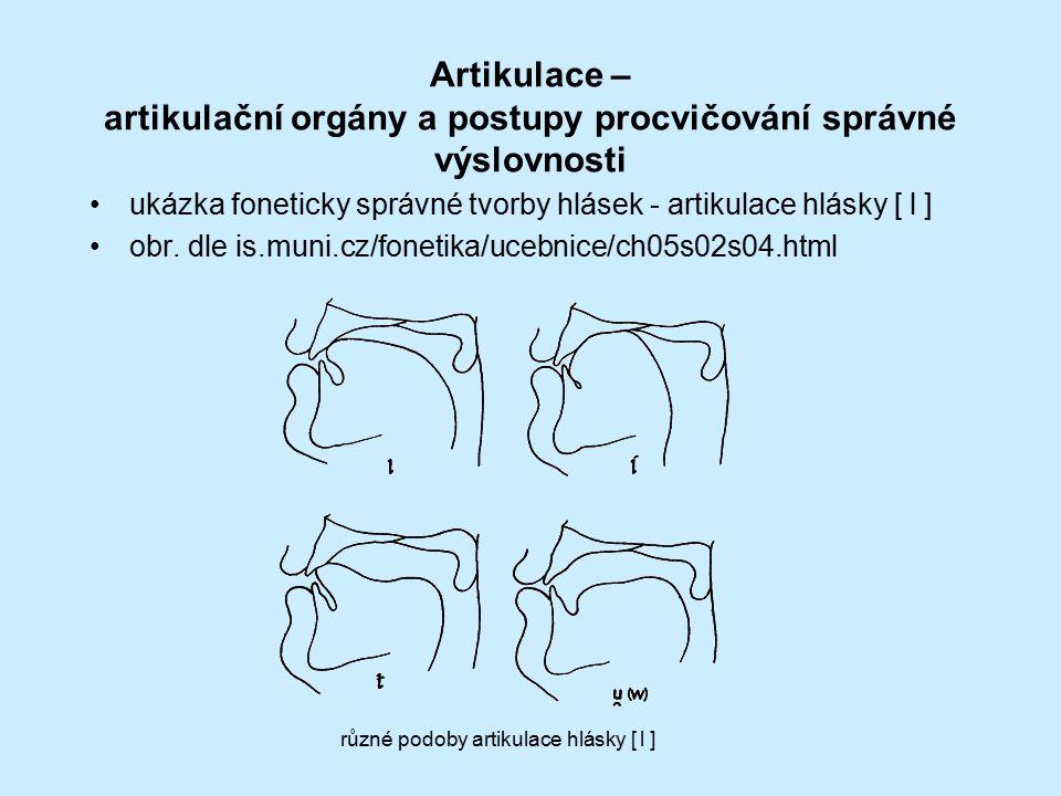 Artikulace – artikulační orgány a postupy procvičování správné výslovnosti ukázka foneticky správné tvorby hlásek - artikulace hlásky [ l ] obr. dle i