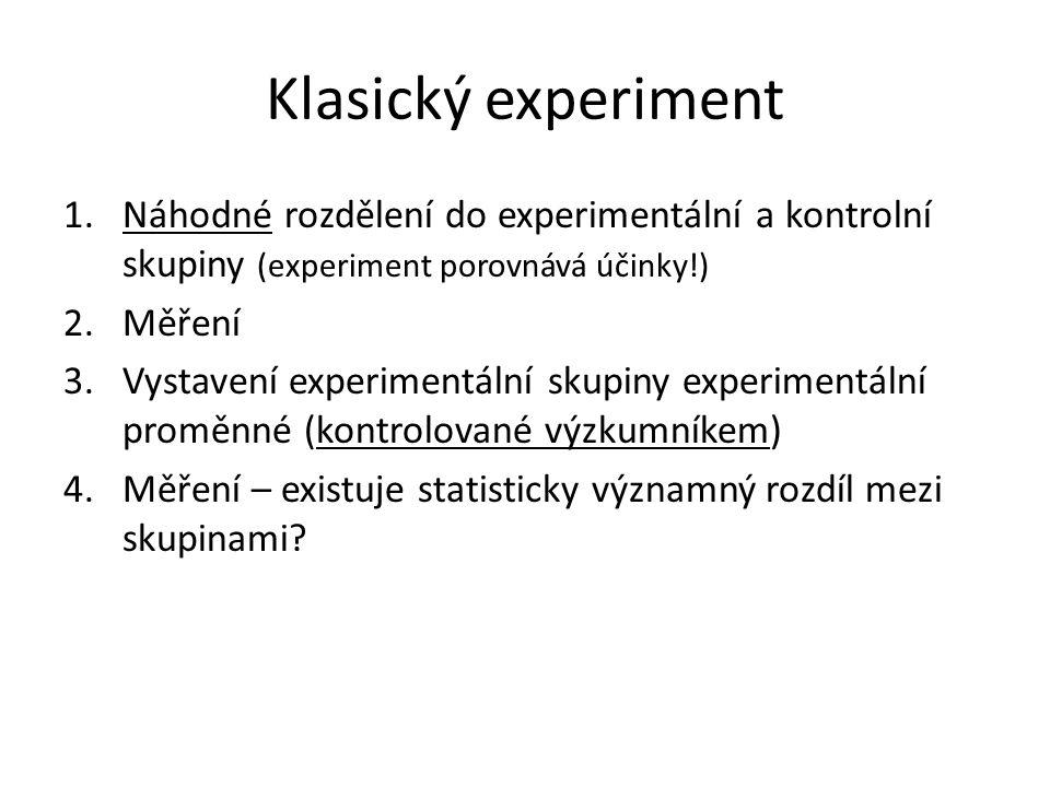 Klasický experiment 1.Náhodné rozdělení do experimentální a kontrolní skupiny (experiment porovnává účinky!) 2.Měření 3.Vystavení experimentální skupiny experimentální proměnné (kontrolované výzkumníkem) 4.Měření – existuje statisticky významný rozdíl mezi skupinami