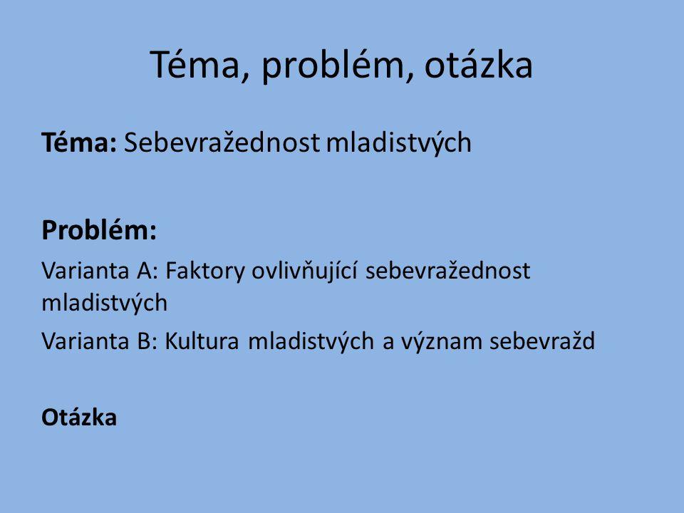 Téma, problém, otázka Téma: Sebevražednost mladistvých Problém: Varianta A: Faktory ovlivňující sebevražednost mladistvých Varianta B: Kultura mladistvých a význam sebevražd Otázka