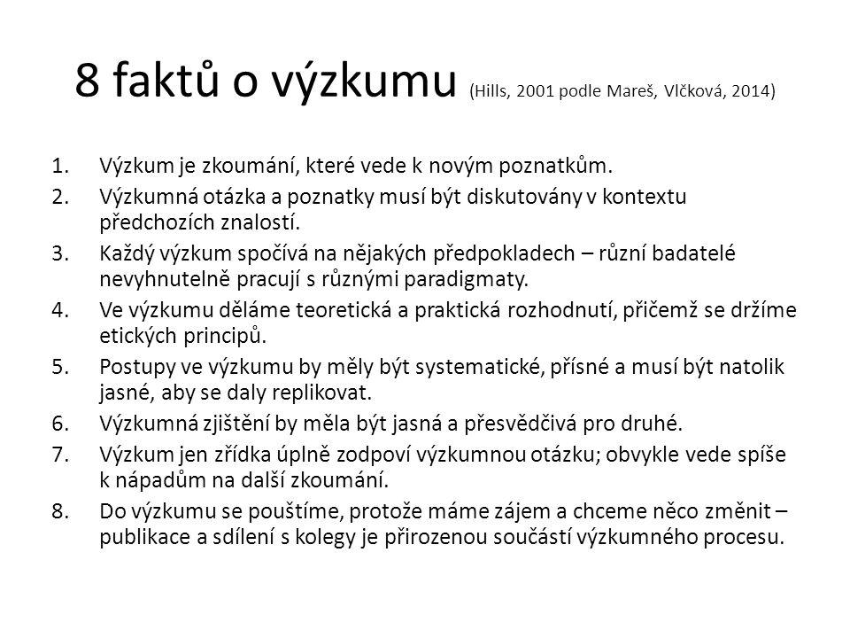 8 faktů o výzkumu (Hills, 2001 podle Mareš, Vlčková, 2014) 1.Výzkum je zkoumání, které vede k novým poznatkům.