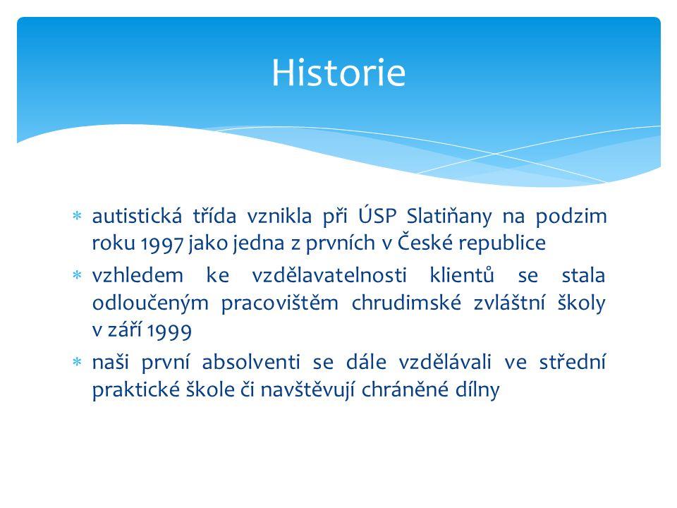  autistická třída vznikla při ÚSP Slatiňany na podzim roku 1997 jako jedna z prvních v České republice  vzhledem ke vzdělavatelnosti klientů se stala odloučeným pracovištěm chrudimské zvláštní školy v září 1999  naši první absolventi se dále vzdělávali ve střední praktické škole či navštěvují chráněné dílny Historie