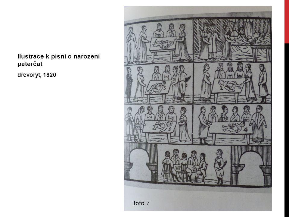 Ilustrace k písni o narození paterčat dřevoryt, 1820 foto 7