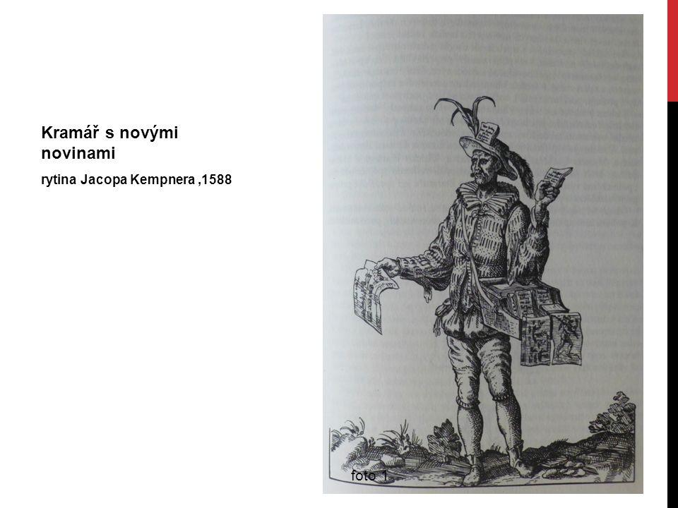 Kramář s novými novinami rytina Jacopa Kempnera,1588 foto 1