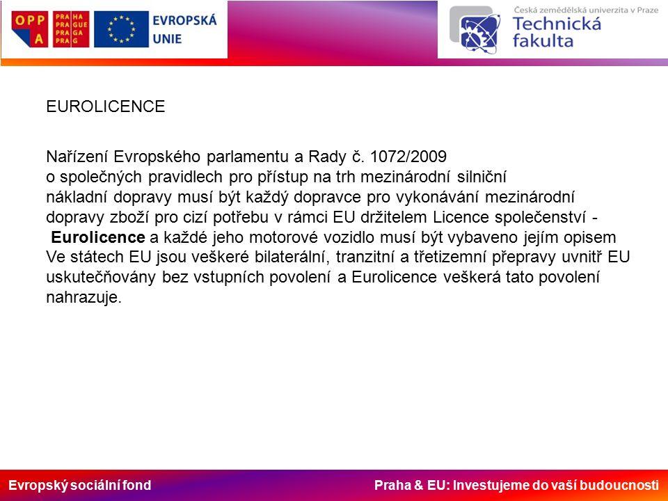 Evropský sociální fond Praha & EU: Investujeme do vaší budoucnosti EUROLICENCE Nařízení Evropského parlamentu a Rady č.