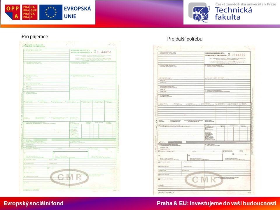 Evropský sociální fond Praha & EU: Investujeme do vaší budoucnosti Pro příjemce Pro další potřebu