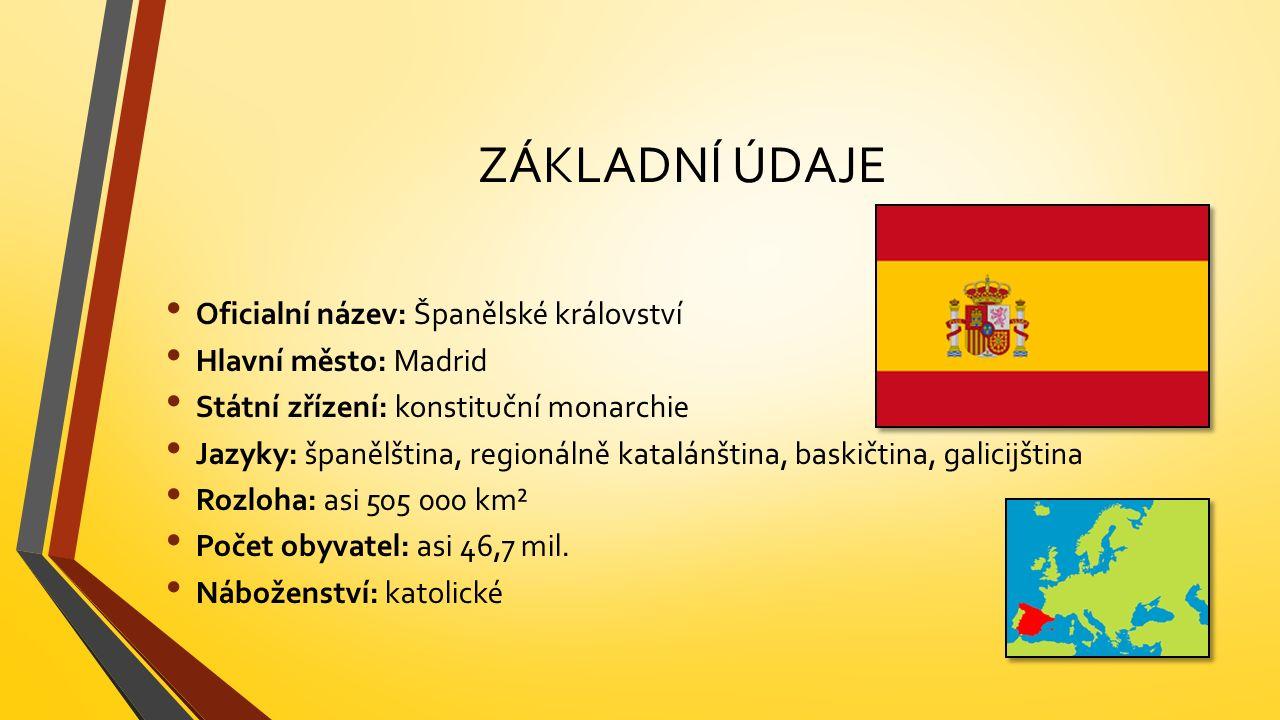 ZÁKLADNÍ ÚDAJE Oficialní název: Španělské království Hlavní město: Madrid Státní zřízení: konstituční monarchie Jazyky: španělština, regionálně katalánština, baskičtina, galicijština Rozloha: asi 505 000 km² Počet obyvatel: asi 46,7 mil.