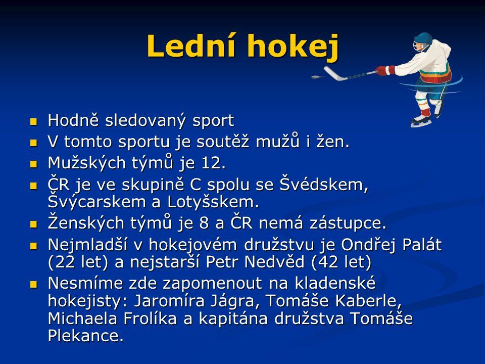 Lední hokej Hodně sledovaný sport Hodně sledovaný sport V tomto sportu je soutěž mužů i žen.