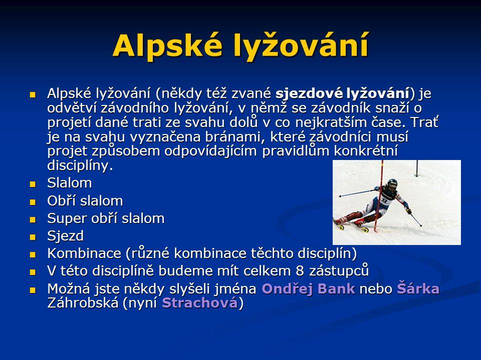 Alpské lyžování Alpské lyžování (někdy též zvané sjezdové lyžování) je odvětví závodního lyžování, v němž se závodník snaží o projetí dané trati ze svahu dolů v co nejkratším čase.