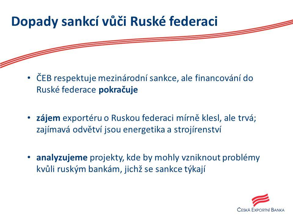 Dopady sankcí vůči Ruské federaci ČEB respektuje mezinárodní sankce, ale financování do Ruské federace pokračuje zájem exportéru o Ruskou federaci mírně klesl, ale trvá; zajímavá odvětví jsou energetika a strojírenství analyzujeme projekty, kde by mohly vzniknout problémy kvůli ruským bankám, jichž se sankce týkají