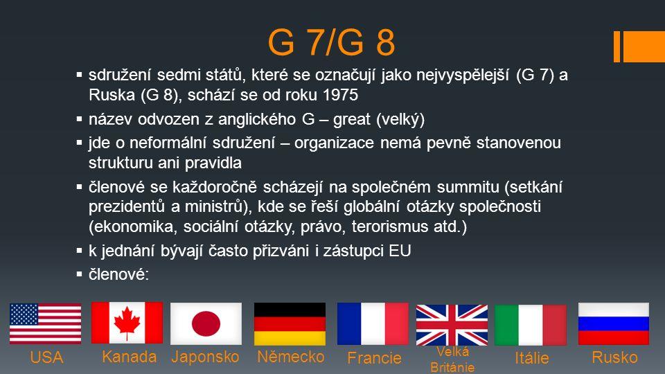 G 7/G 8  sdružení sedmi států, které se označují jako nejvyspělejší (G 7) a Ruska (G 8), schází se od roku 1975  název odvozen z anglického G – great (velký)  jde o neformální sdružení – organizace nemá pevně stanovenou strukturu ani pravidla  členové se každoročně scházejí na společném summitu (setkání prezidentů a ministrů), kde se řeší globální otázky společnosti (ekonomika, sociální otázky, právo, terorismus atd.)  k jednání bývají často přizváni i zástupci EU  členové: USA Kanada Japonsko Německo Francie Velká Británie Itálie Rusko