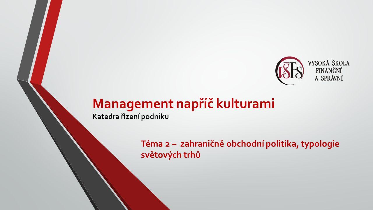 Management napříč kulturami Katedra řízení podniku Téma 2 – zahraničně obchodní politika, typologie světových trhů