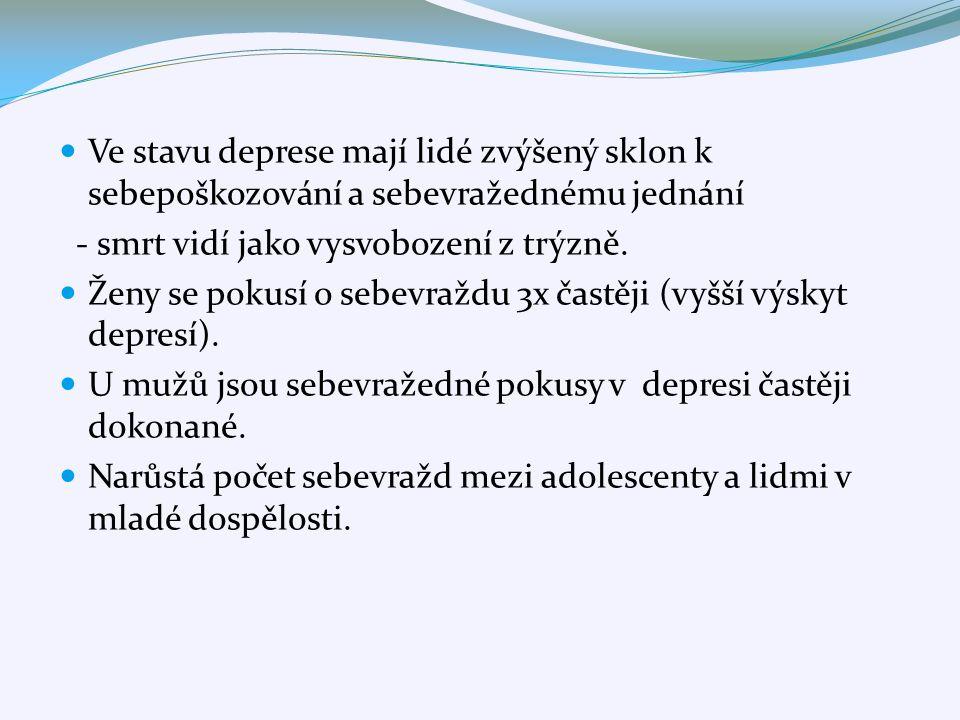 Ve stavu deprese mají lidé zvýšený sklon k sebepoškozování a sebevražednému jednání - smrt vidí jako vysvobození z trýzně. Ženy se pokusí o sebevraždu