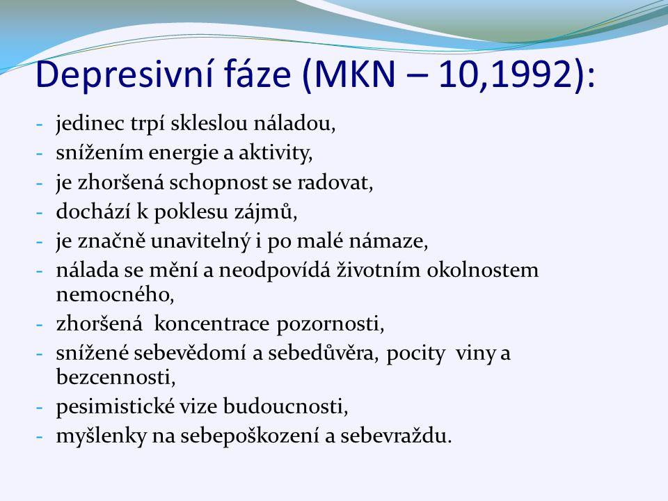 Depresivní fáze (MKN – 10,1992): - jedinec trpí skleslou náladou, - snížením energie a aktivity, - je zhoršená schopnost se radovat, - dochází k poklesu zájmů, - je značně unavitelný i po malé námaze, - nálada se mění a neodpovídá životním okolnostem nemocného, - zhoršená koncentrace pozornosti, - snížené sebevědomí a sebedůvěra, pocity viny a bezcennosti, - pesimistické vize budoucnosti, - myšlenky na sebepoškození a sebevraždu.