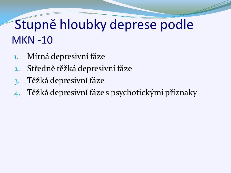 Stupně hloubky deprese podle MKN -10 1. Mírná depresivní fáze 2. Středně těžká depresivní fáze 3. Těžká depresivní fáze 4. Těžká depresivní fáze s psy
