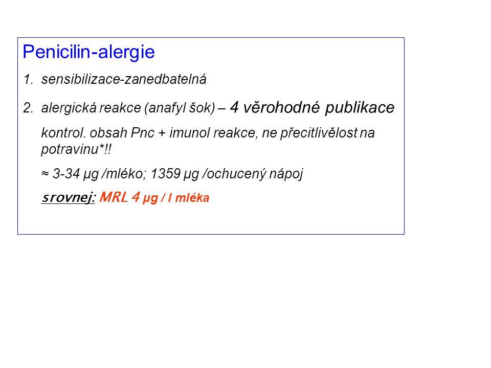 Penicilin-alergie 1.sensibilizace-zanedbatelná 2.alergická reakce (anafyl šok) – 4 věrohodné publikace kontrol.