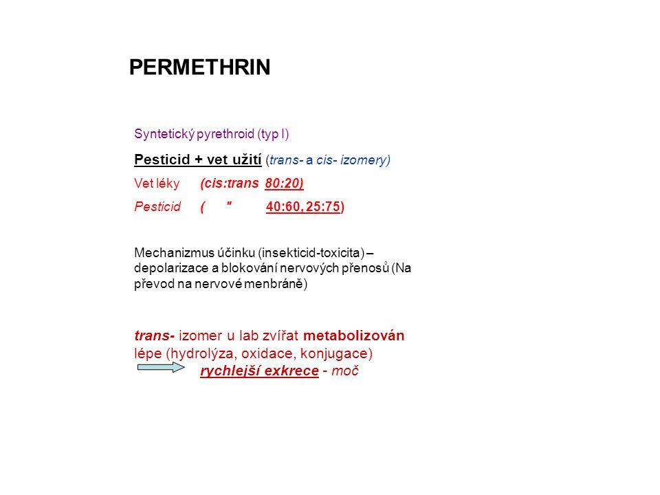 PERMETHRIN Syntetický pyrethroid (typ I) Pesticid + vet užití (trans- a cis- izomery) Vet léky (cis:trans 80:20) Pesticid( 40:60, 25:75) Mechanizmus účinku (insekticid-toxicita) – depolarizace a blokování nervových přenosů (Na převod na nervové menbráně) trans- izomer u lab zvířat metabolizován lépe (hydrolýza, oxidace, konjugace) rychlejší exkrece - moč