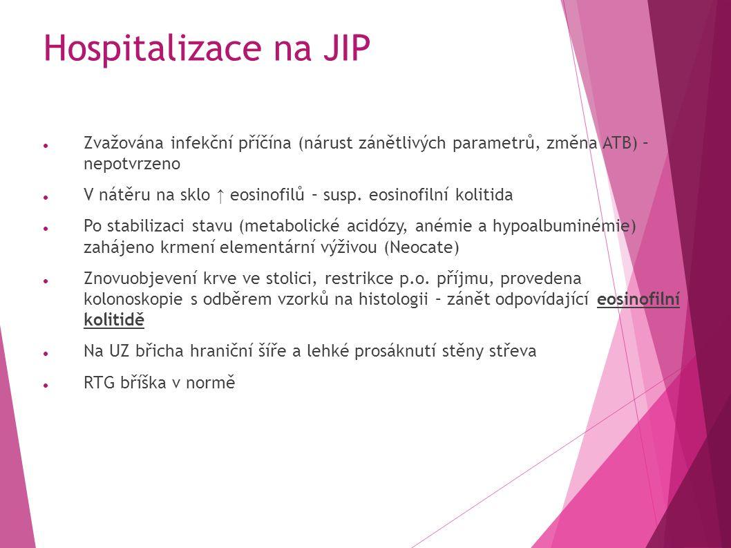 Hospitalizace na JIP Zvažována infekční příčína (nárust zánětlivých parametrů, změna ATB) – nepotvrzeno V nátěru na sklo ↑ eosinofilů – susp.