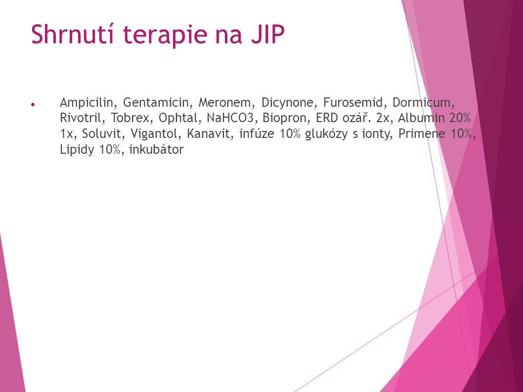 Shrnutí terapie na JIP Ampicilin, Gentamicin, Meronem, Dicynone, Furosemid, Dormicum, Rivotril, Tobrex, Ophtal, NaHCO3, Biopron, ERD ozář.