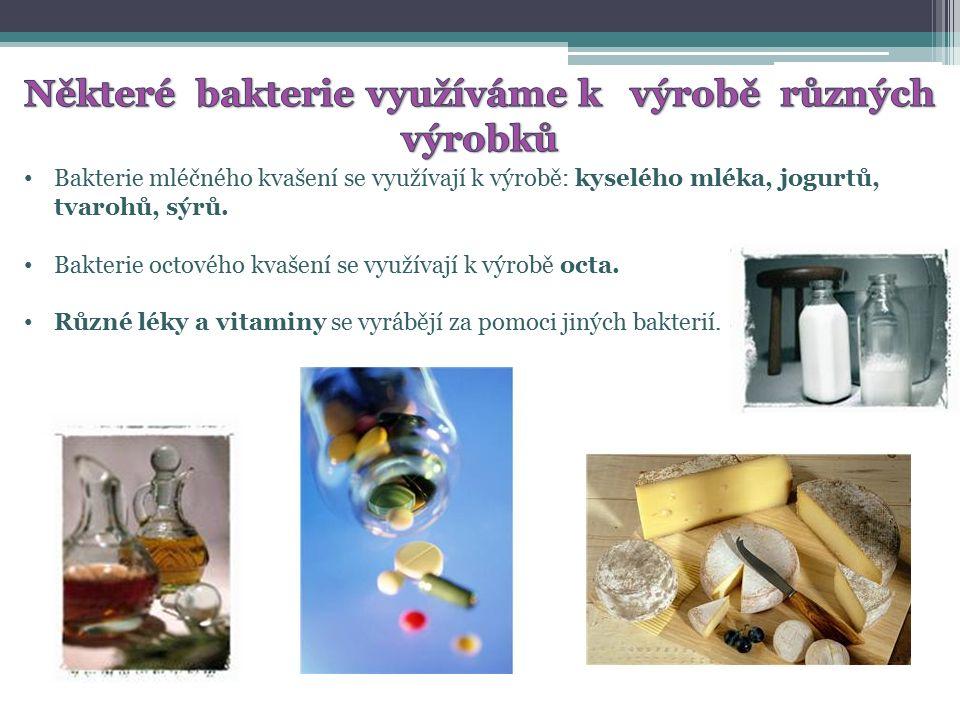 Bakterie mléčného kvašení se využívají k výrobě: kyselého mléka, jogurtů, tvarohů, sýrů.