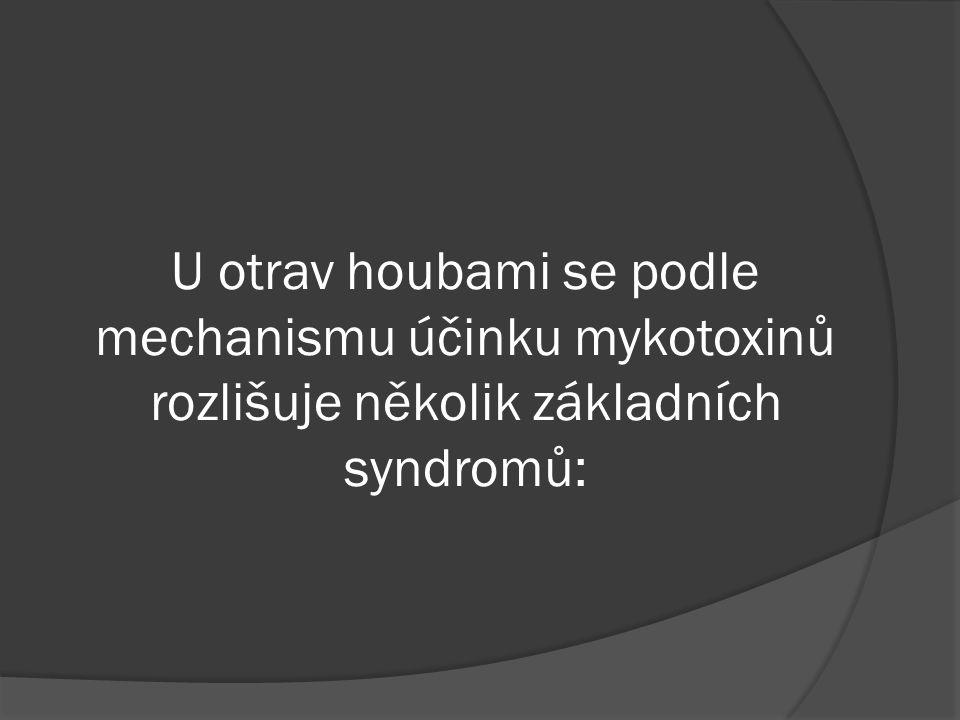 U otrav houbami se podle mechanismu účinku mykotoxinů rozlišuje několik základních syndromů: