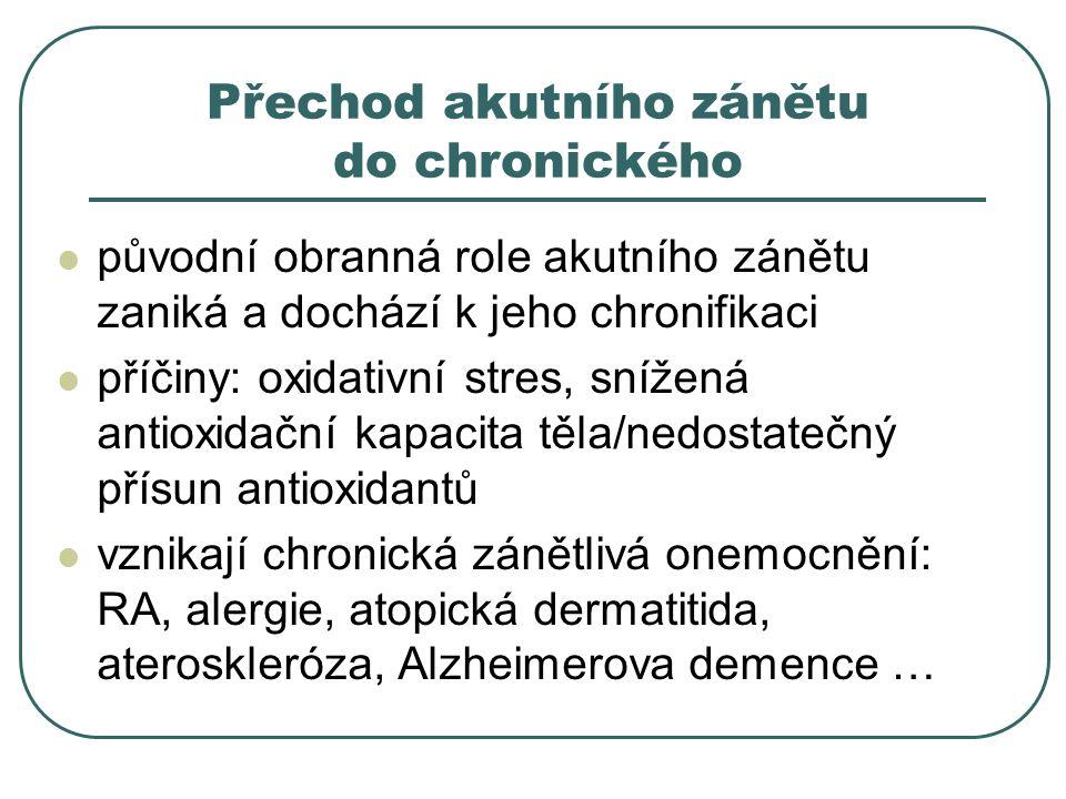 Přechod akutního zánětu do chronického původní obranná role akutního zánětu zaniká a dochází k jeho chronifikaci příčiny: oxidativní stres, snížená antioxidační kapacita těla/nedostatečný přísun antioxidantů vznikají chronická zánětlivá onemocnění: RA, alergie, atopická dermatitida, ateroskleróza, Alzheimerova demence …