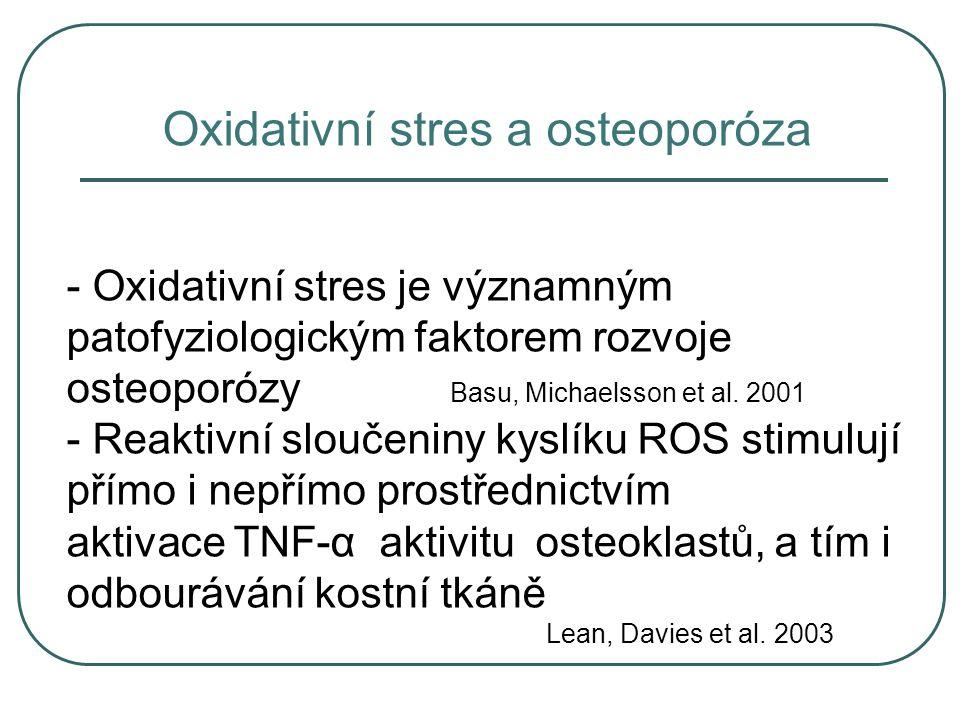Oxidativní stres a osteoporóza - Oxidativní stres je významným patofyziologickým faktorem rozvoje osteoporózy Basu, Michaelsson et al. 2001 - Reaktivn