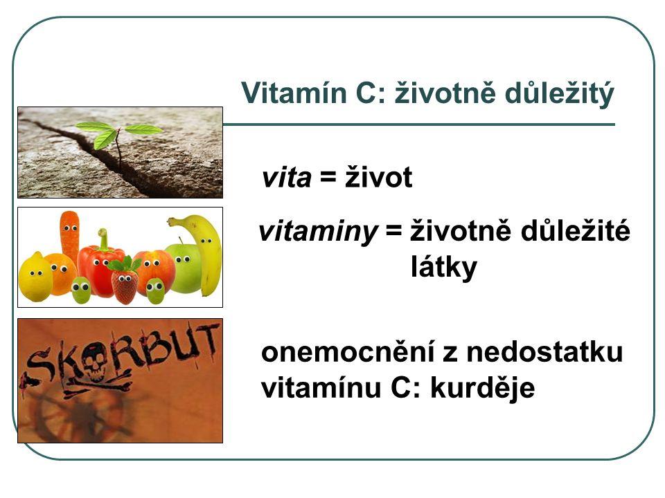 Vitamín C: životně důležitý vita = život onemocnění z nedostatku vitamínu C: kurděje vitaminy = životně důležité látky