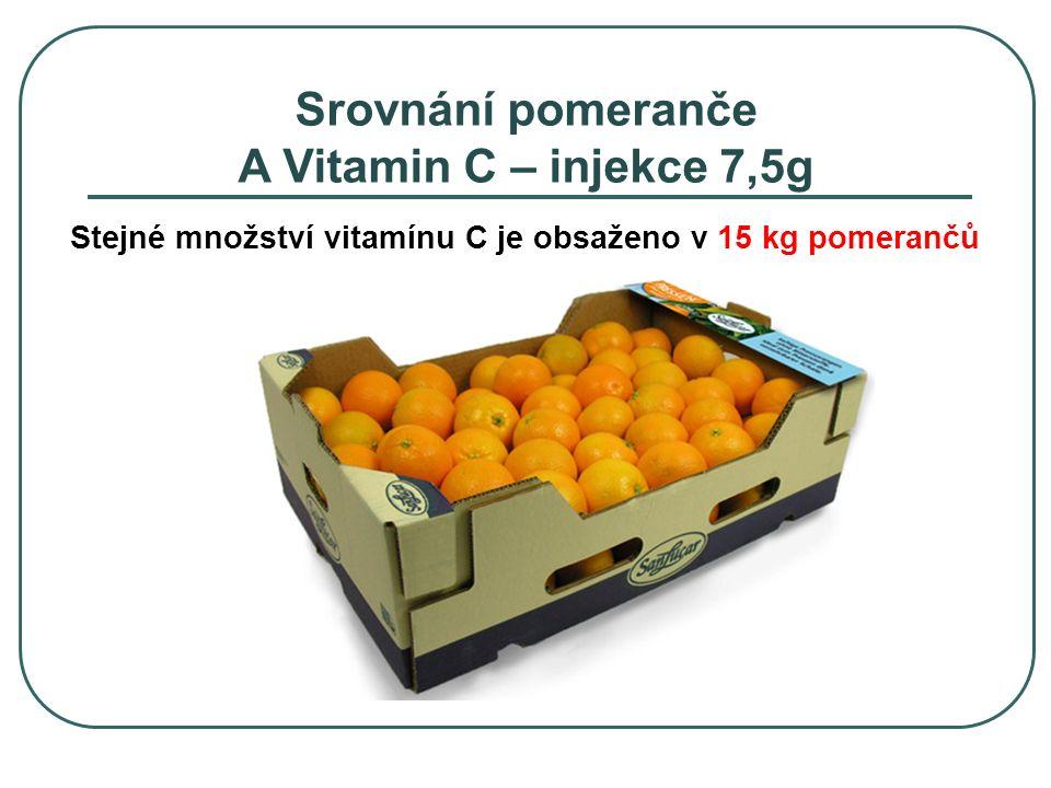 Stejné množství vitamínu C je obsaženo v 15 kg pomerančů Srovnání pomeranče A Vitamin C – injekce 7,5g