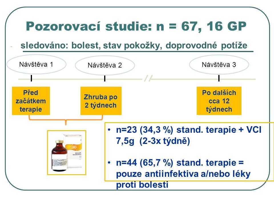 Před začátkem terapie Návštěva 1 Zhruba po 2 týdnech Po dalších cca 12 týdnech n=23 (34,3 %) stand.