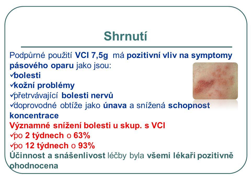 Shrnutí Podpůrné použití VCI 7,5g má pozitivní vliv na symptomy pásového oparu jako jsou: bolesti kožní problémy přetrvávající bolesti nervů doprovodn