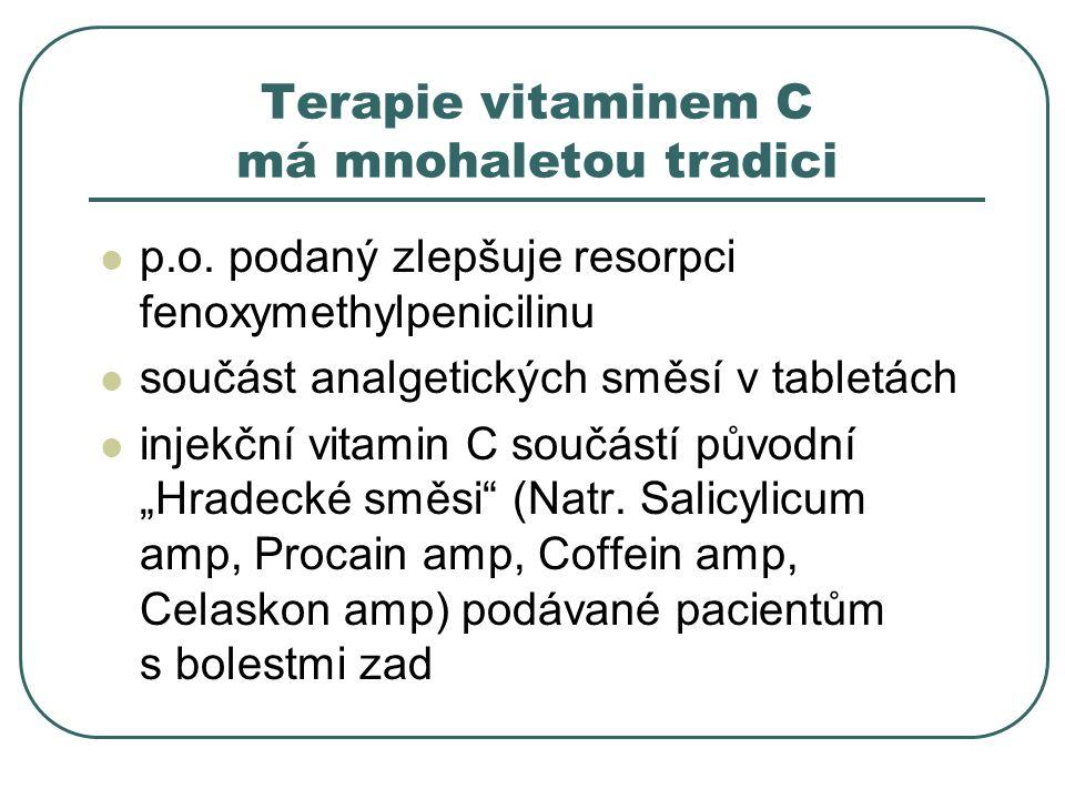 Terapie vitaminem C má mnohaletou tradici p.o. podaný zlepšuje resorpci fenoxymethylpenicilinu součást analgetických směsí v tabletách injekční vitami
