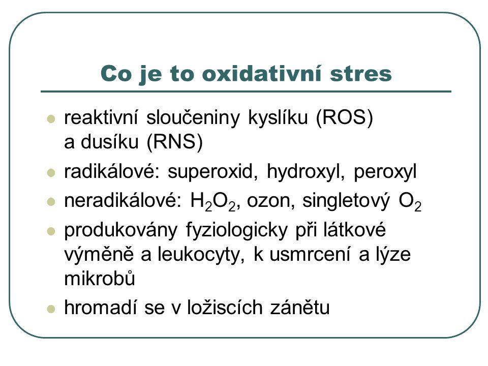 Co je to oxidativní stres reaktivní sloučeniny kyslíku (ROS) a dusíku (RNS) radikálové: superoxid, hydroxyl, peroxyl neradikálové: H 2 O 2, ozon, singletový O 2 produkovány fyziologicky při látkové výměně a leukocyty, k usmrcení a lýze mikrobů hromadí se v ložiscích zánětu