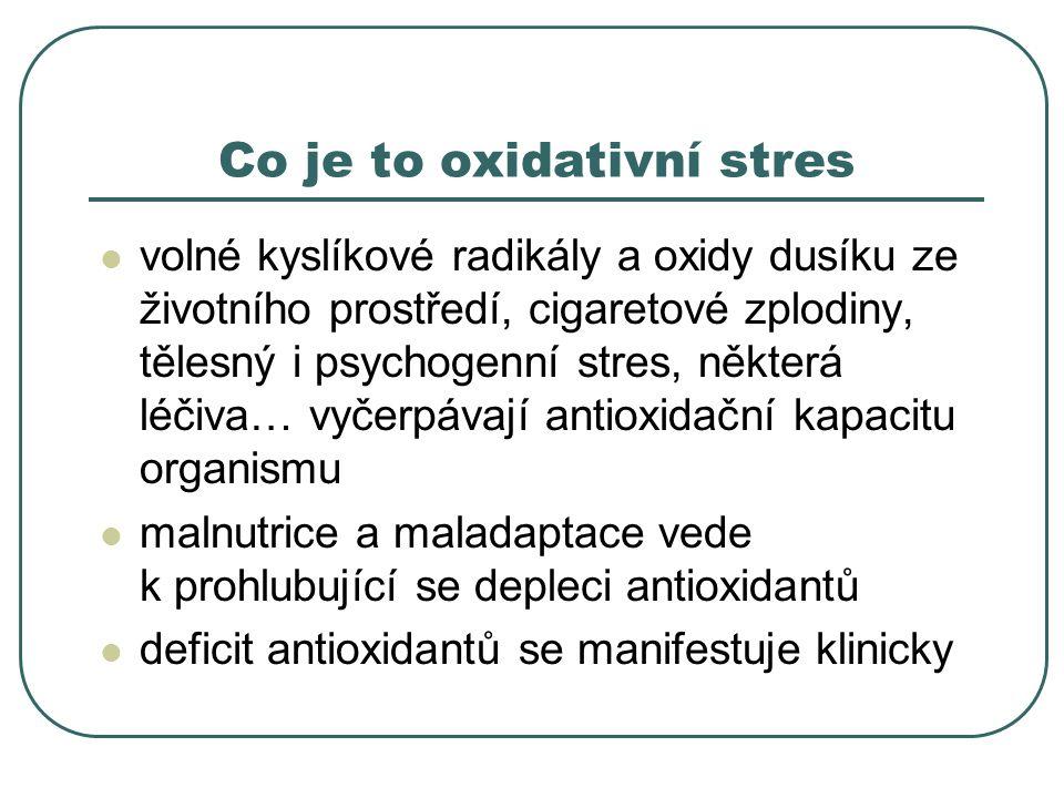 Co je to oxidativní stres volné kyslíkové radikály a oxidy dusíku ze životního prostředí, cigaretové zplodiny, tělesný i psychogenní stres, některá léčiva… vyčerpávají antioxidační kapacitu organismu malnutrice a maladaptace vede k prohlubující se depleci antioxidantů deficit antioxidantů se manifestuje klinicky