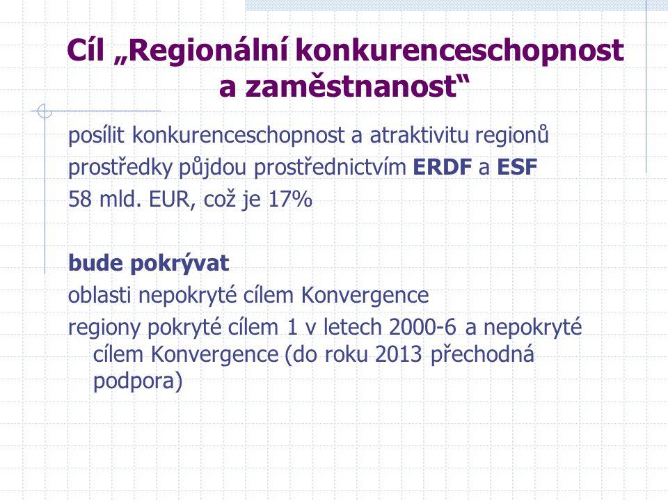 """Cíl """"Regionální konkurenceschopnost a zaměstnanost posílit konkurenceschopnost a atraktivitu regionů prostředky půjdou prostřednictvím ERDF a ESF 58 mld."""