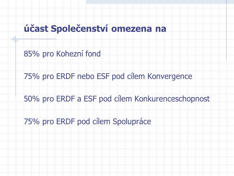 účast Společenství omezena na 85% pro Kohezní fond 75% pro ERDF nebo ESF pod cílem Konvergence 50% pro ERDF a ESF pod cílem Konkurenceschopnost 75% pro ERDF pod cílem Spolupráce