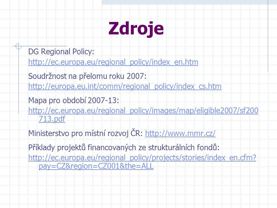 Zdroje DG Regional Policy: http://ec.europa.eu/regional_policy/index_en.htm Soudržnost na přelomu roku 2007: http://europa.eu.int/comm/regional_policy/index_cs.htm Mapa pro období 2007-13: http://ec.europa.eu/regional_policy/images/map/eligible2007/sf200 713.pdf Ministerstvo pro místní rozvoj ČR: http://www.mmr.cz/http://www.mmr.cz/ Příklady projektů financovaných ze strukturálních fondů: http://ec.europa.eu/regional_policy/projects/stories/index_en.cfm.