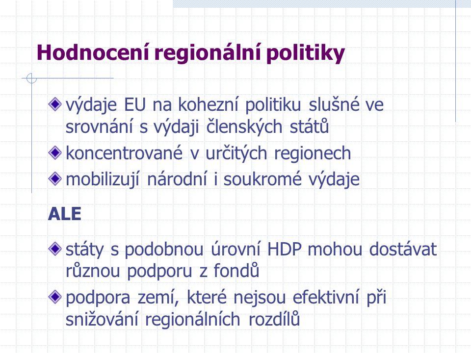 Hodnocení regionální politiky výdaje EU na kohezní politiku slušné ve srovnání s výdaji členských států koncentrované v určitých regionech mobilizují národní i soukromé výdaje ALE státy s podobnou úrovní HDP mohou dostávat různou podporu z fondů podpora zemí, které nejsou efektivní při snižování regionálních rozdílů