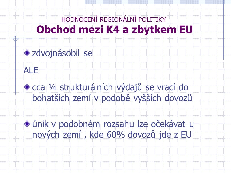 HODNOCENÍ REGIONÁLNÍ POLITIKY Obchod mezi K4 a zbytkem EU zdvojnásobil se ALE cca ¼ strukturálních výdajů se vrací do bohatších zemí v podobě vyšších dovozů únik v podobném rozsahu lze očekávat u nových zemí, kde 60% dovozů jde z EU