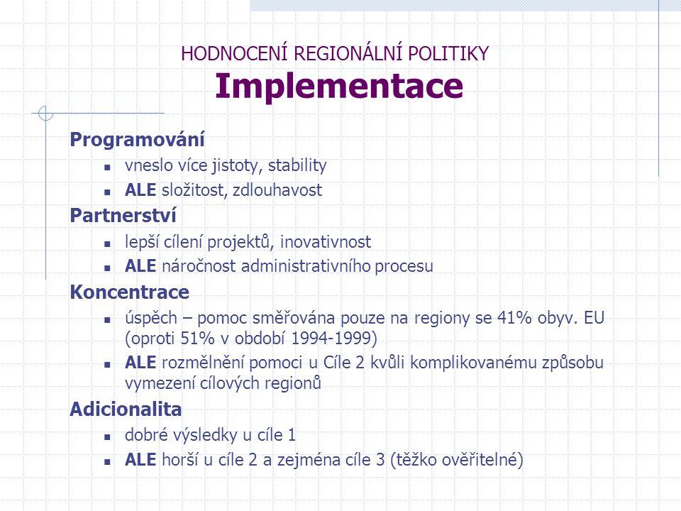 HODNOCENÍ REGIONÁLNÍ POLITIKY Implementace Programování vneslo více jistoty, stability ALE složitost, zdlouhavost Partnerství lepší cílení projektů, inovativnost ALE náročnost administrativního procesu Koncentrace úspěch – pomoc směřována pouze na regiony se 41% obyv.