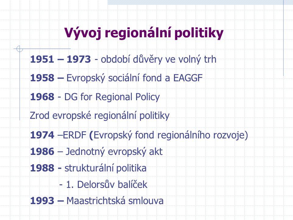 Vývoj regionální politiky 1951 – 1973 - období důvěry ve volný trh 1958 – Evropský sociální fond a EAGGF 1968 - DG for Regional Policy Zrod evropské regionální politiky 1974 –ERDF (Evropský fond regionálního rozvoje) 1986 – Jednotný evropský akt 1988 - strukturální politika - 1.