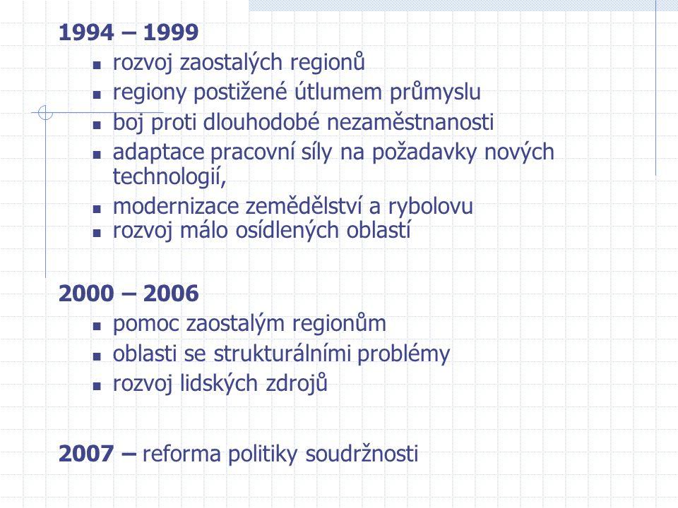 1994 – 1999 rozvoj zaostalých regionů regiony postižené útlumem průmyslu boj proti dlouhodobé nezaměstnanosti adaptace pracovní síly na požadavky nových technologií, modernizace zemědělství a rybolovu rozvoj málo osídlených oblastí 2000 – 2006 pomoc zaostalým regionům oblasti se strukturálními problémy rozvoj lidských zdrojů 2007 – reforma politiky soudržnosti