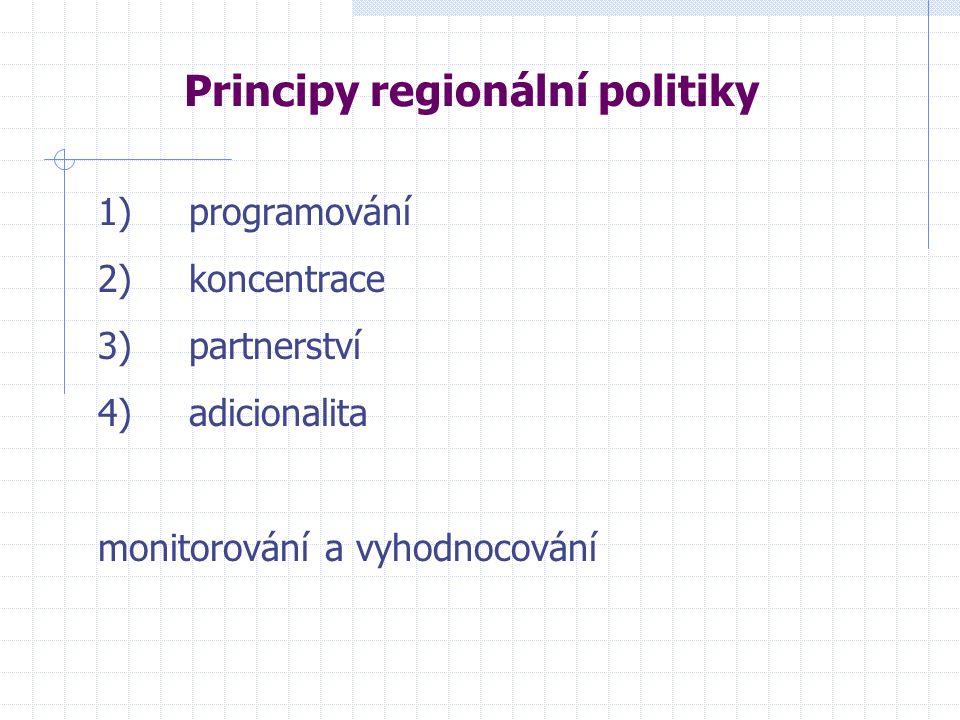 Principy regionální politiky 1) programování 2) koncentrace 3) partnerství 4) adicionalita monitorování a vyhodnocování