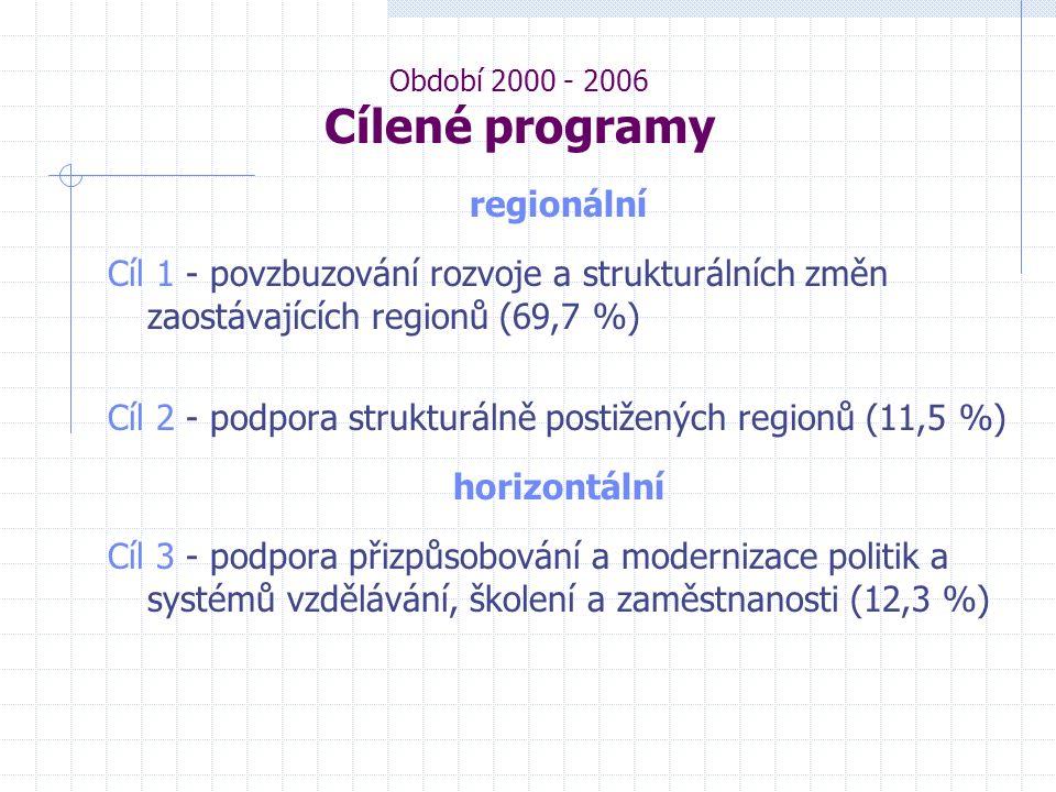 Období 2000 - 2006 Cílené programy regionální Cíl 1 - povzbuzování rozvoje a strukturálních změn zaostávajících regionů (69,7 %) Cíl 2 - podpora strukturálně postižených regionů (11,5 %) horizontální Cíl 3 - podpora přizpůsobování a modernizace politik a systémů vzdělávání, školení a zaměstnanosti (12,3 %)