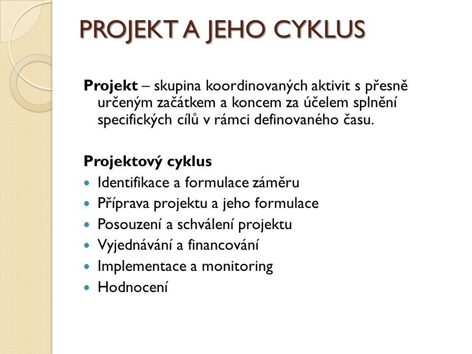 PROJEKT A JEHO CYKLUS Projekt – skupina koordinovaných aktivit s přesně určeným začátkem a koncem za účelem splnění specifických cílů v rámci definovaného času.