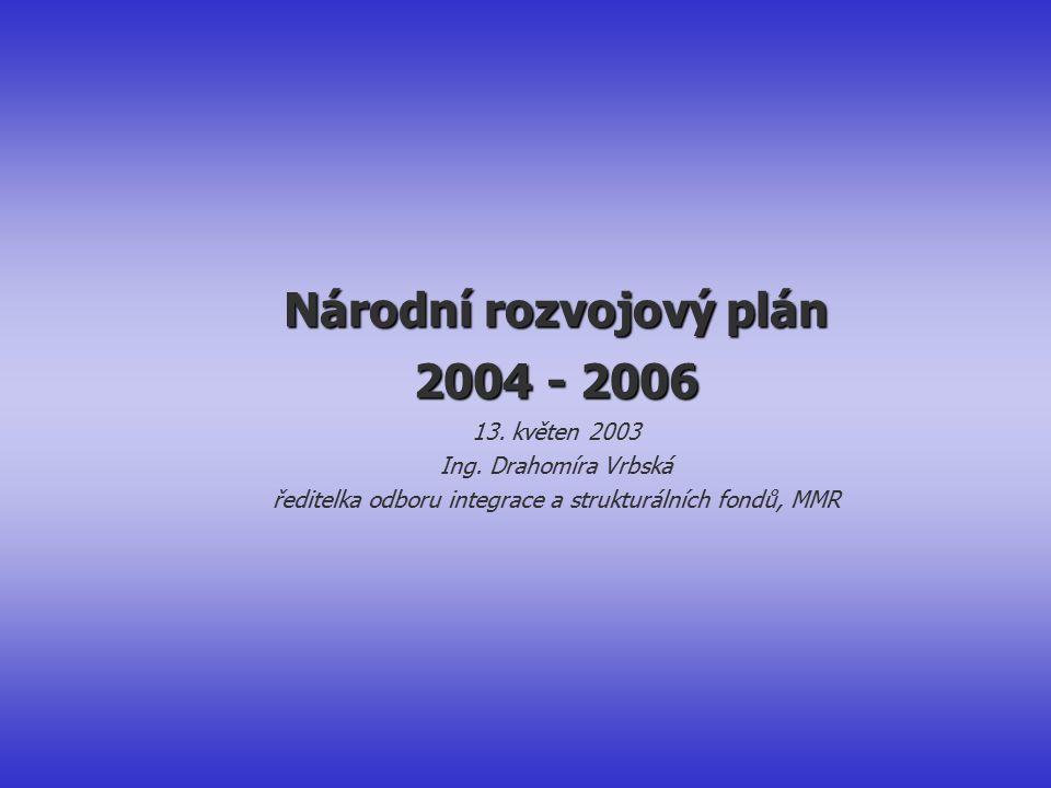 Národní rozvojový plán 2004 - 2006 13. květen 2003 Ing.