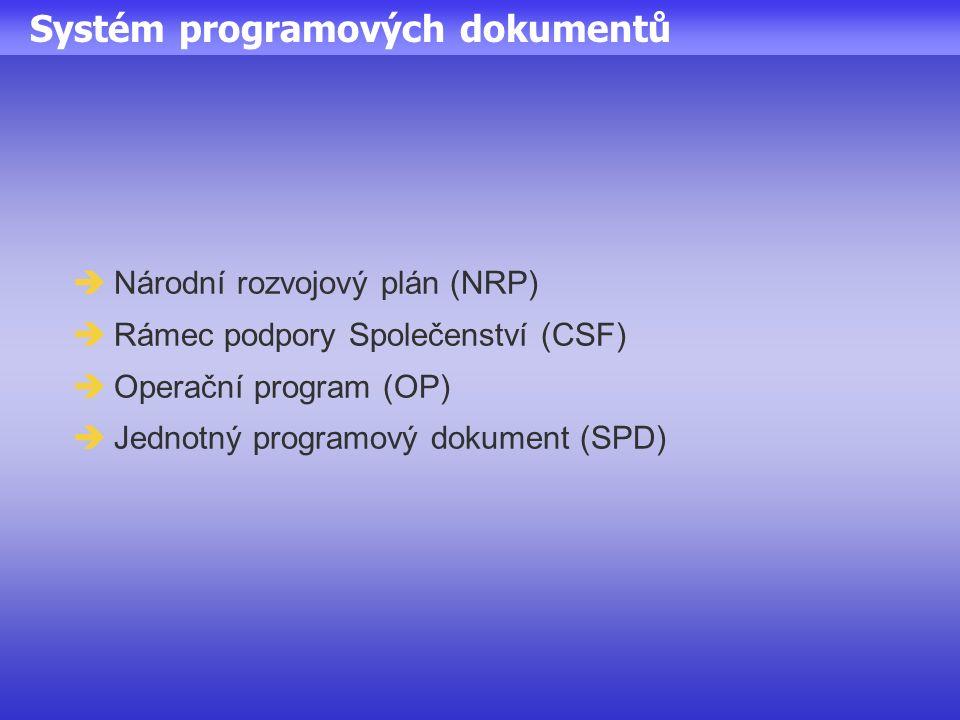 Systém programových dokumentů  Národní rozvojový plán (NRP)  Rámec podpory Společenství (CSF)  Operační program (OP)  Jednotný programový dokument (SPD)