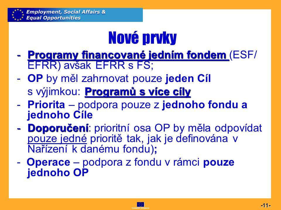 Commission européenne 11 -11- Nové prvky -Programy financované jedním fondem -Programy financované jedním fondem (ESF/ EFRR) avšak EFRR s FS; -OP by m