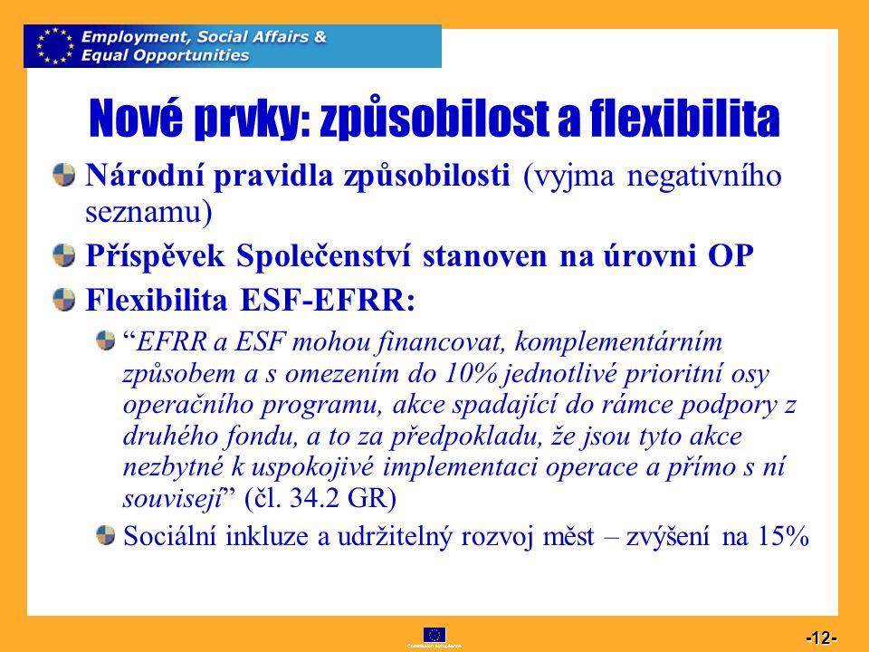 Commission européenne 12 -12- Nové prvky: způsobilost a flexibilita Národní pravidla způsobilosti (vyjma negativního seznamu) Příspěvek Společenství s