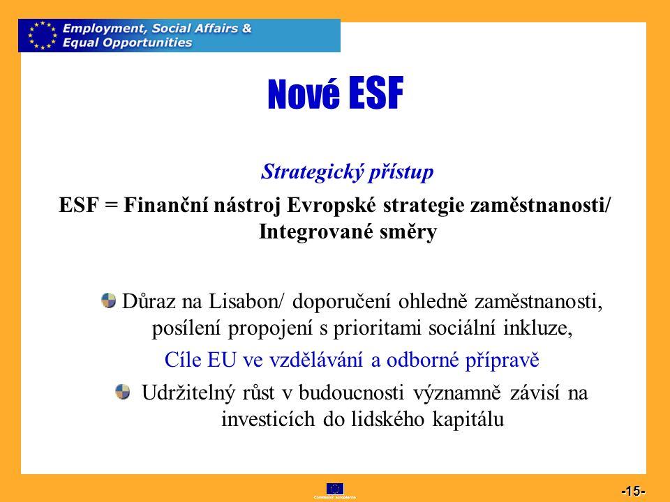 Commission européenne 15 -15- Nové ESF Strategický přístup ESF = Finanční nástroj Evropské strategie zaměstnanosti/ Integrované směry Důraz na Lisabon